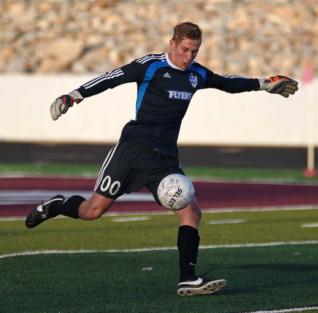 Dixie goalkeeper Ethan Poulton (00) Dixie vs. Pine View, Soccer, St. George, Utah, Mar. 26, 2015 | Photo by Robert Hoppie, ASPpix.com, St. George News