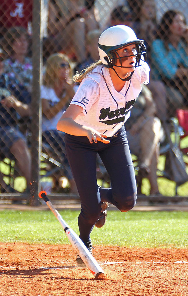 Nikenna Durante follows the flight of the ball for Snow Canyon, Dixie vs. Snow Canyon, Softball, St. George, Utah, Mar. 27, 2015 | Photo by Robert Hoppie, ASPpix.com, St. George News