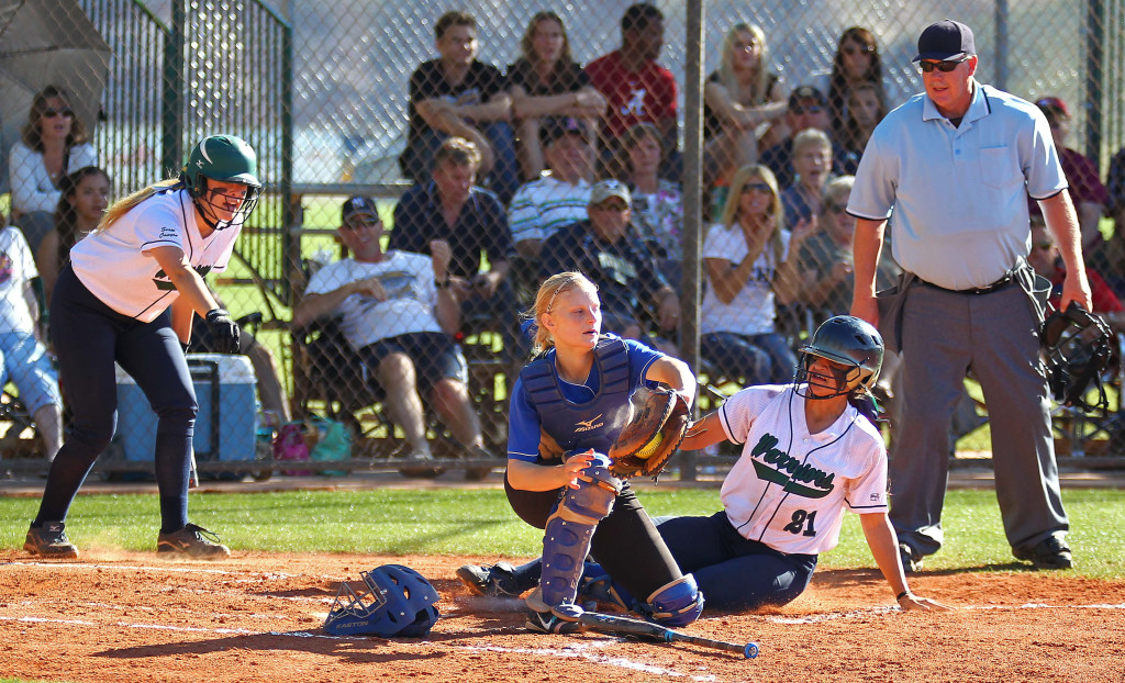 Snow Canyon's Sonya Hardy (21) slides in to home safely, Dixie vs. Snow Canyon, Softball, St. George, Utah, Mar. 27, 2015 | Photo by Robert Hoppie, ASPpix.com, St. George News