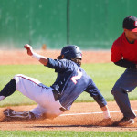 Drew McLaughlin slides in to third base safely, Dixie State University vs. Academy of Art University, Baseball, St. George, Utah, Mar. 28, 2015 | Photo by Robert Hoppie, ASPpix.com, St. George News