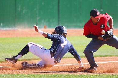 Drew McLaughlin slides in to third base safely, Dixie State University vs. Academy of Art University, Baseball, St. George, Utah, Mar. 28, 2015 | Photo by Robert Hoppie, ASPpix.com, St. George News