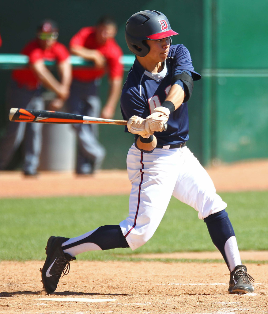 Yuto Kata takes a swing for the Red Storm, Dixie State University vs. Academy of Art University, Baseball, St. George, Utah, Mar. 28, 2015 | Photo by Robert Hoppie, ASPpix.com, St. George News