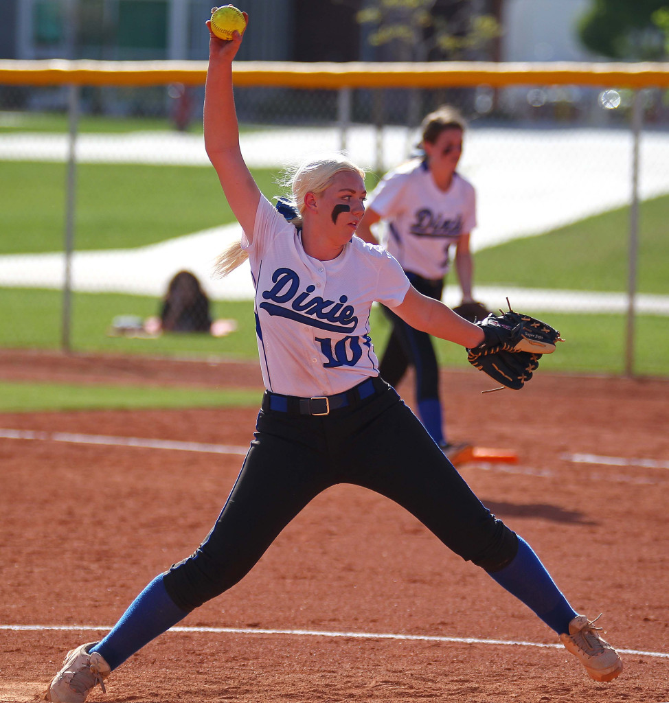 Dixie pitcher Summer Simkins (10), Pine View vs. Dixie, Softball, St. George, Utah, Mar. 31, 2015 | Photo by Robert Hoppie, ASPpix.com, St. George News