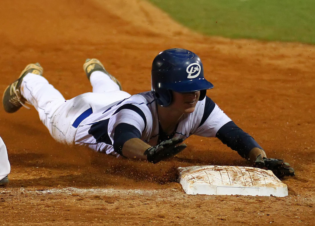 Drew Bailey dives head first in to third base for a triple, Stansbury vs. Dixie, Baseball, St. George, Utah, Mar. 6, 2015 | Photo by Robert Hoppie, ASPpix.com, St. George News
