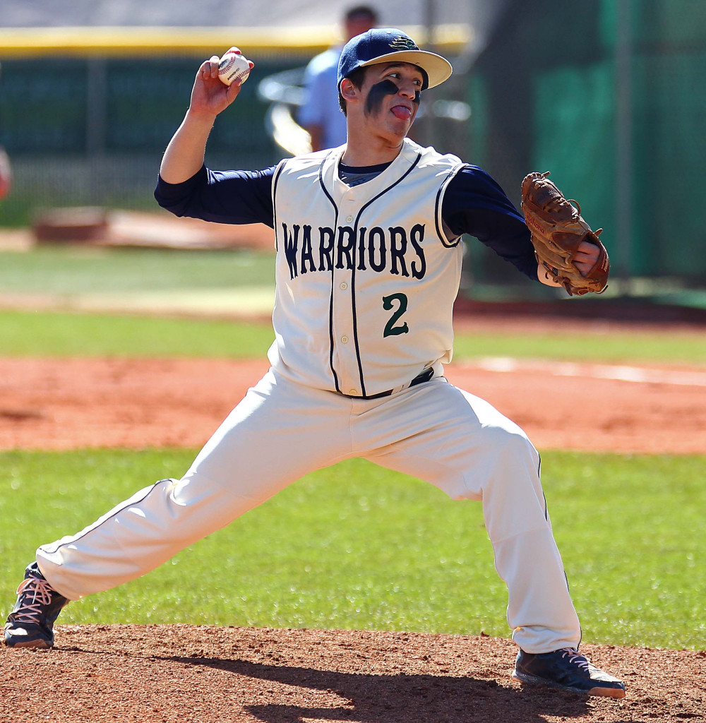 Warrior starting pitcher Nick Dolce, Canyon View vs. Snow Canyon, Baseball, St. George, Utah, Mar. 7, 2015 | Photo by Robert Hoppie, ASPpix.com, St. George News