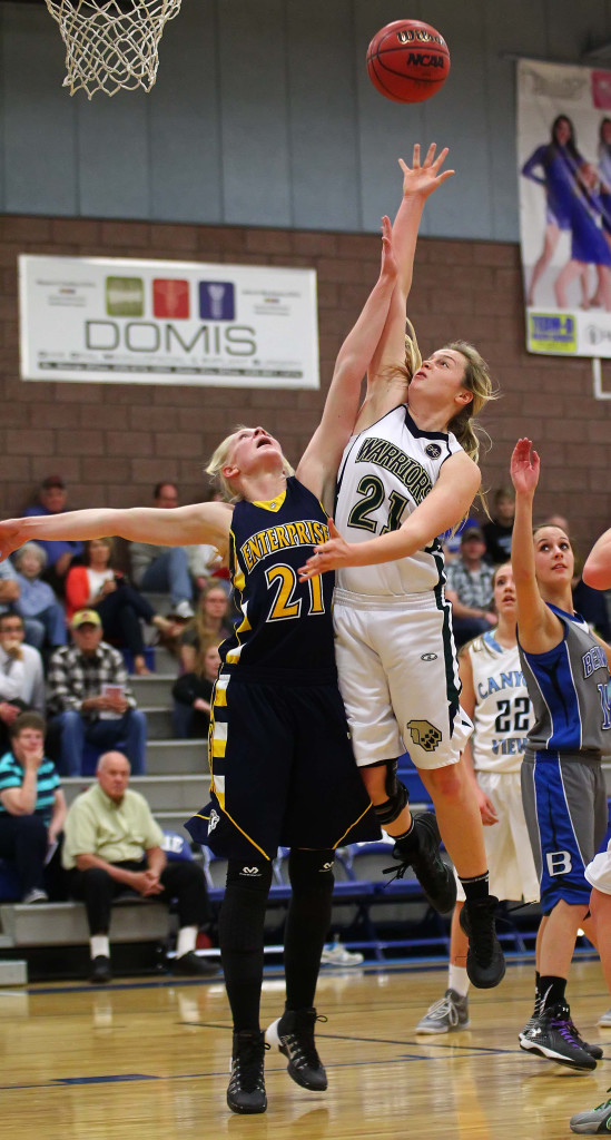 Enterprise's Riley Lyman defends as Snow Canyon's Madison Mooring (21) puts up a shot in the paint, March Mayhem All Star Basketball, St. George, Utah, Mar. 7, 2015 | Photo by Robert Hoppie, ASPpix.com, St. George News
