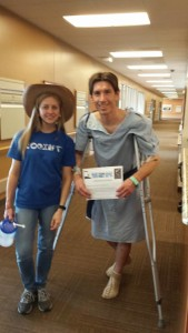 Sara and Aaron Campbell smile for the camera as they receive a visit at DRMC from GRO Promotions president Cimarron Chacon, St. George, Utah, March 15, 2015 | Photo by Cimarron Chacon, St. George News