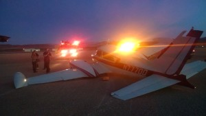 A Cessna 310 crashed at the St. George Municipal Airport due to mechanical failure while landing, St. George, Utah, Feb. 21, 2015 | Photo courtesy of Brad Kitchen, City of St. George, St. George News