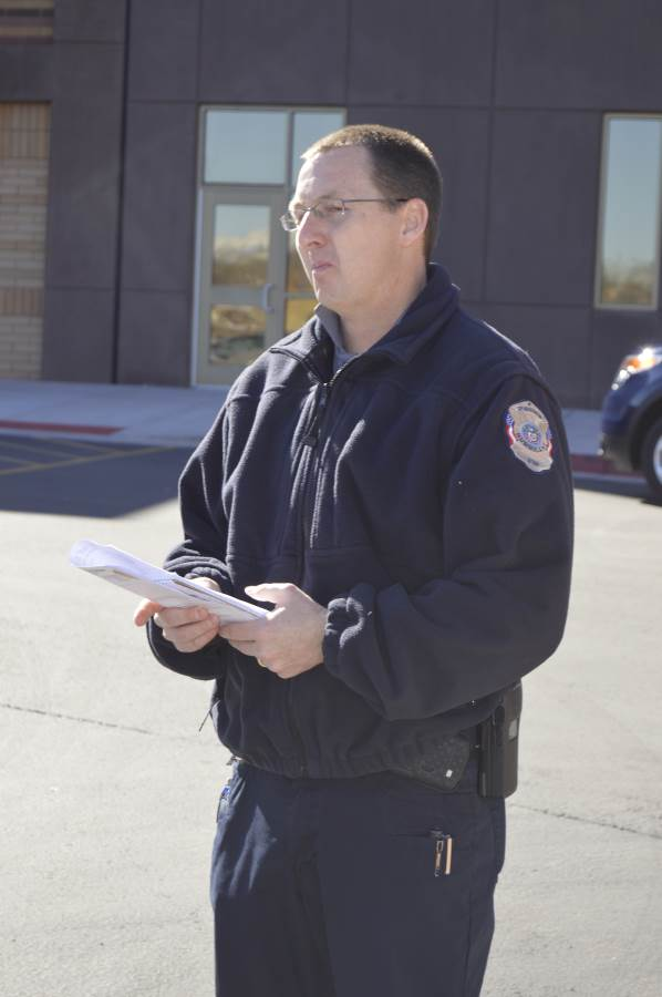 Hurricane Police Sgt. Brandon Buell during lock-out, Hurricane High School, Hurricane, Utah, March 4, 2015 | Photo by Candice McMahon, St. George News