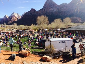 Finish line of the Zion Half Marathon, Springdale, Utah, March 14, 2015 | Photo by Scott Young, St. George News