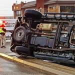 Rollover collision in front of Fossil Ridge Intermediate School, 383 S. Mall Drive, St. George, Utah, March 2, 2015 | Photo by Brett Barrett, St. George News