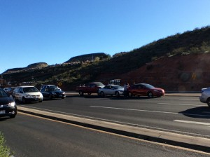 A 4-vehicle collision on north Bluff Street backs up traffic, St. George, Utah, March 20, 2015  Photo by Holly Coombs, St. George News