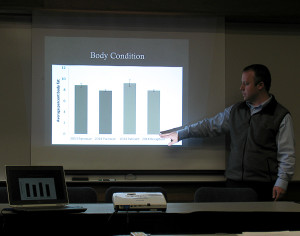 BYU Department of Plant and Wildlife Sciences Associate Professor Randy Larsen spoke to a room full of interested community members, Southern Utah University Hunter COnference Center, Cedar City, Utah, February 27,  | Photo by Carin Miller, St. George News
