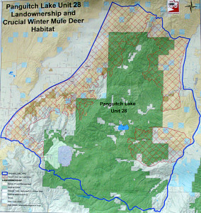 Map of winter grazing areas for the Unit 28 mule deer, Southern Utah University Hunter COnference Center, Cedar City, Utah, February 27,  | Photo by Carin Miller, St. George News