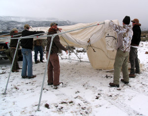 Setting up the triage tent for fawn survival study, Angle staging area, Angle, Utah, March 1, 2015 | Photo by Carin Miller, St. George News