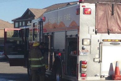 St. George Firefighters respond to a fire at an apartment on Hidden Valley Drive, St. George, Utah, March 28, 2015 | Photo by Holly Coombs, St. George News