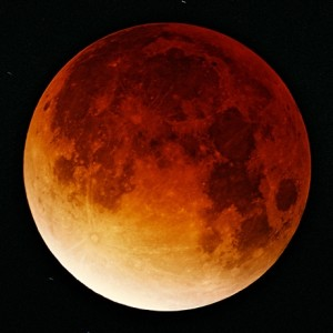 """Photo of a lunar eclipse, or """"blood moon,"""" undated 
