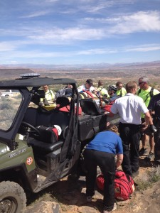 Emergency responders place an injured mountain biker in an ATV specialized for medical transport, St. George, Utah, March 21, 2015 | Photo courtesy of Darren Inlay, St. George News