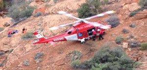 Life Flight was called in to assist in the rescue of an injured hiker in the Red Cliffs area, March 3, 2015 | Photo courtesy of the Washington County Search and Rescue, St. George News