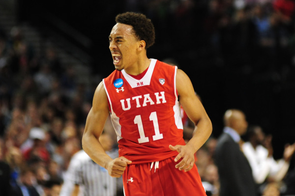 Brandon Taylor celebrates a made basket vs. the Hoyas. | Photo by Godofredo Vasquez — USA Today Sports, courtesy Utah Athletics
