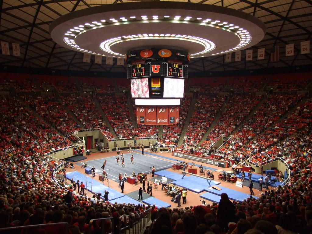 """Utah gymnastics meet"" by Scott Catron - originally posted to Flickr as Jon M. Huntsman Center - gymnastics meet."