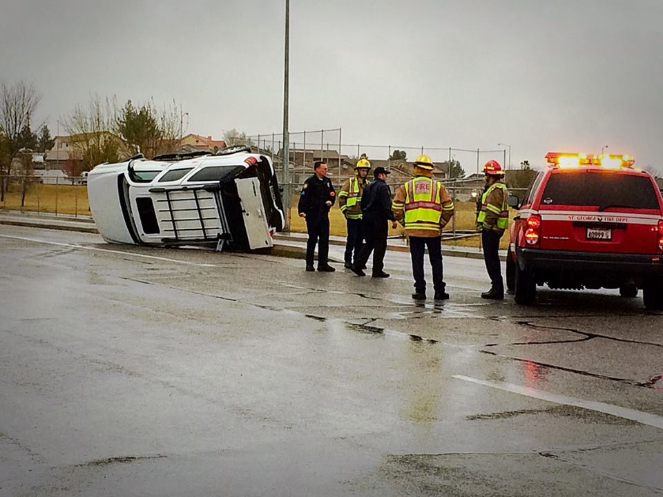 Rollover collision in front of Fossil Ridge Intermediate School, 383 S. Mall Drive, St. George, Utah, March 2, 2015   Photo by Kimberly Scott, St. George News