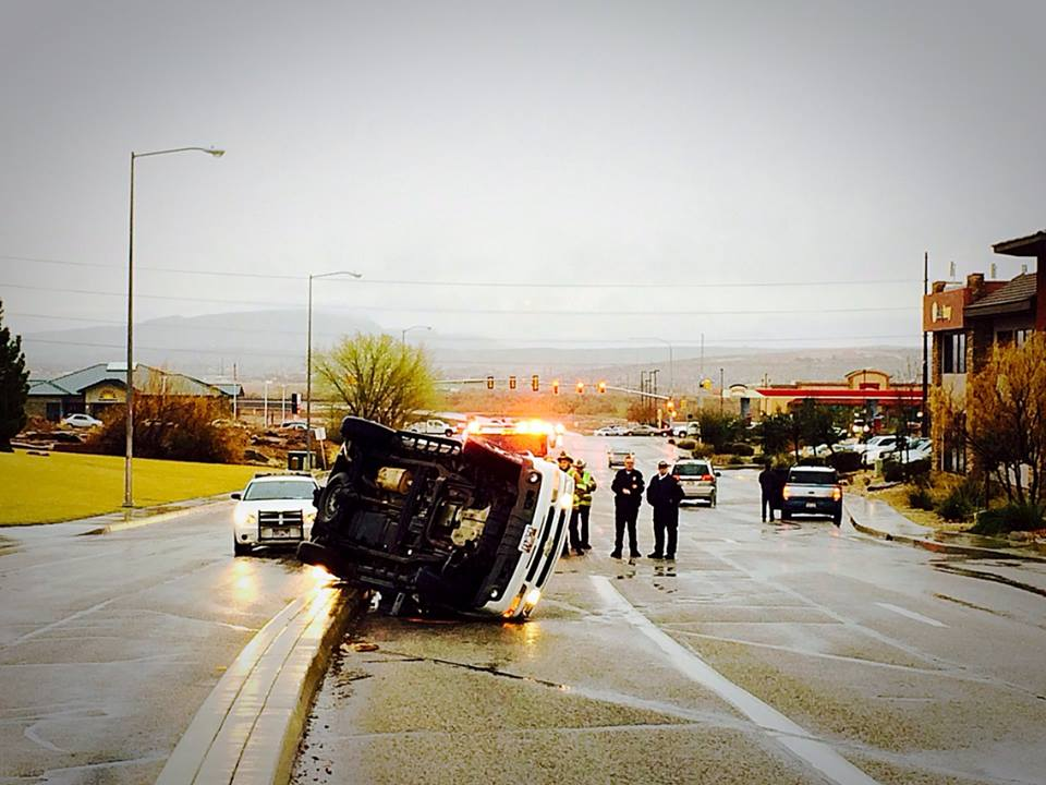 Rollover collision in front of Fossil Ridge Intermediate School, 383 S. Mall Drive, St. George, Utah, March 2, 2015   Photo by Scott Young, St. George News