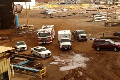 Emergency responders gather at St. George Steel after getting a report of a large steel beam falling on an employee there, St. George Steel, St. George, Utah, March 3, 2015 | Photo by Mori Kessler, St. George News