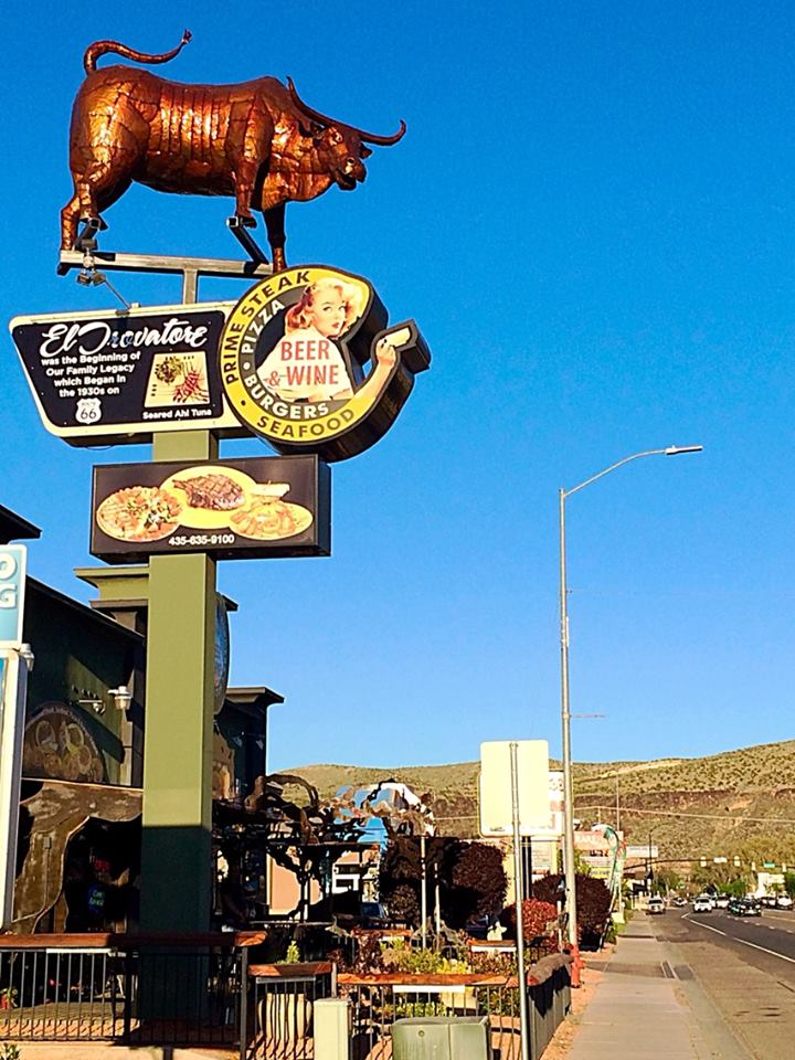Owner of Barista's Restaurant has bull's penis removed from his restaurant sign that sparked outrage within the community over the bull's extra-large male anatomy, Hurricane, Utah, March 27, 2015 | Photo by Kimberly Scott, St. George News