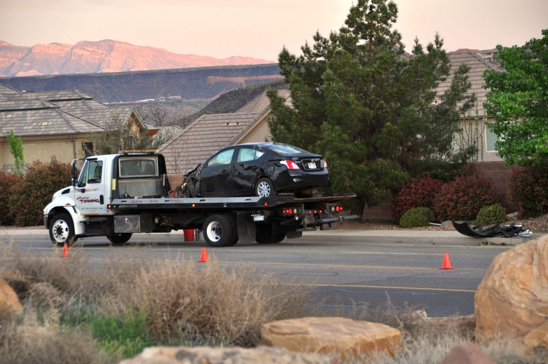 Car ready for tow after an early morning car accident at 1450 South and S. 2580 East, St. George, Utah, Mar. 21, 2015  | Photo by Shane Brinkerhoff, St. George News