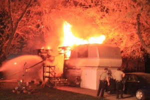 A late night fire destroys a trailer in Washington City  March 23, 2015 | Photo courtesy of Gary Bolton, St. George News