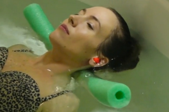 """St. George News """"A-List"""" Columnist Ali Hill floats with a noodle at Elite Day Spa in St. George, Utah, March 2015 