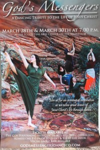 """God's Messengers Dance Company flyer for their upcoming show, """"A Tribute to the Life of Jesus Christ"""", St. George, Utah, undated 