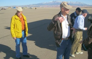 L - R Ralph Cravens, Russ Roberts, Don Pantone, and Don Davies. Members of the United Flying Octogenarians who flew in to St. George Municipal Airport today for a social get-together.