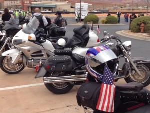 """The Wall That Heals"" arrives at Zion Harley Davidson escorted by the Patriot Guard Riders of the Vietnam Veterans of America, Southern Utah Chapter 961, Washington City, Utah, March 11, 2015 