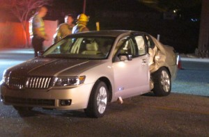 Two cars collided on 3050 East in St. George Monday night. One man was injured in the crash. | Photo by Ric Wayman, St. George News