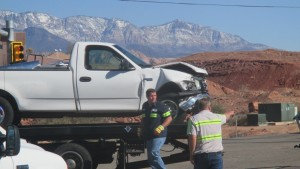 Two people were sent to the hospital Monday after two vehicles collided in the intersection of Mall Drive and Riverside Drive. St. George, Utah, March 9, 2015 | Photo by Mori Kessler, St. George News