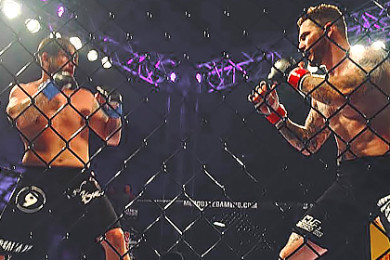 Ricky Wright and Jesse Salmon in the cage at Mayhem in Mesquite, CasaBlanca Hotel & Casino, Mesquite, Nevada, March 7, 2015 | Photo by Ali Hill, St. George News