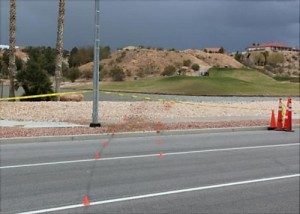 The scene of a fatal crash at the Oasis Golf Club in Mesquite, Nevada, March 3, 2015 | Photo courtesy of Nevada Department of Public Safety - Highway Patrol Division, St. George News