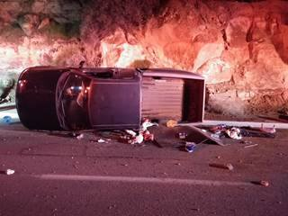 An alleged fatigued driver rolled the Ford truck she was driving on 1450 South, St. George, Utah, March 12, 2015 | Photo courtesy of the St. George Police Department, St. George News