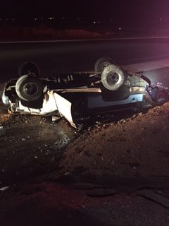 Two men were transported to the hospital following a suspected DUI rollover on 270 East, St. George, Utah, March 12, 2015 | Photo courtesy of the St. George Police Department, St. George News