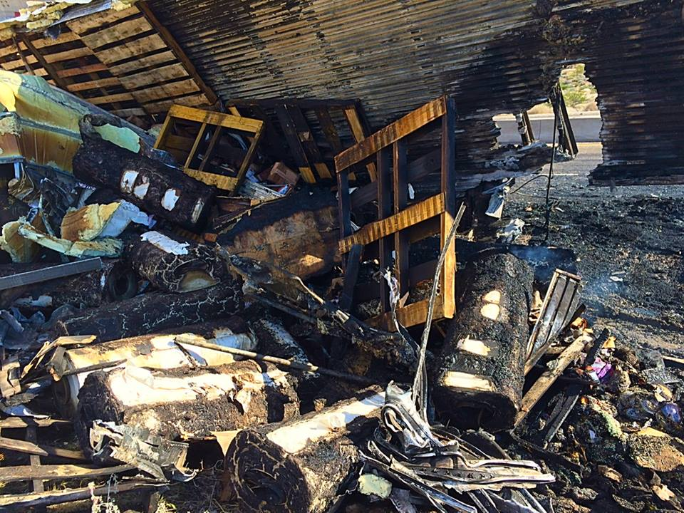 A half a million dollars' worth of merchandise was destroyed when a semitrailer caught fire while traveling south on Interstate 15 along the Virgin River Gorge near milepost 12, Virgin River Gorge, Arizona, March 12, 2015   Photo by Kimberly Scott, St. George News