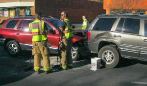 An accident on North Bluff street resulted in no injuries Friday, March 27, 2015 | Photo by Ric Wayman, St. George News