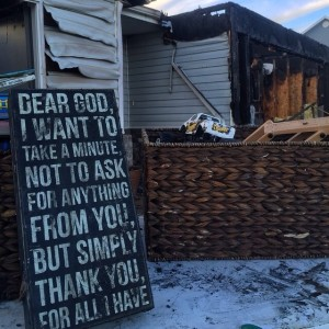 A photo Tia Clay took after the fire in her home reminding her of what she still has, Hurricane, Utah, Feb. 25, 2015 | Photo courtesy of Derek Visser, St. George News