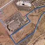 Proposed site for the Grayhawk Apartments at River's Edge project marked by blue border. The proposed complex will feature 244 rental units and be the first large apartment complex built in the city since 2006. | Image courtesy of the City of St. George, St. George News