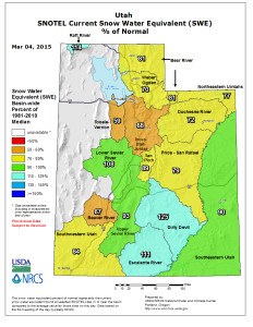 Map of Utah snow water equivalent, as a percentage of normal, March 4, 2015 | Map courtesy of USDA Natural Resources Conservation Service, St. George News | Click on map to enlarge