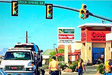 While no injuries were reported as a result of a two-vehicle collision at the Green Springs Drive and Telegraph Street-Red Cliffs Drive intersection, one vehicle was towed and traffic was impacted, Washington, Utah, March 30, 2015 | Photo by Kimberly Scott, St. George News