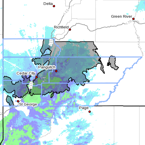 Dots denote affected area at radar time 4:10 p.m., Southern Utah, March 1, 2015 | Image courtesy of the National Weather | Click on photo to enlarge