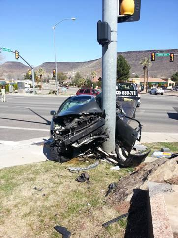 A woman died from injuries she sustained during a collision with a light pole at the Valley View Drive and Dixie Drive intersection, St. George, Utah, March 8, 2014 | Photo courtesy of the St. George Police Department, St. George News