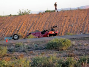 A St. George man was killed when his truck rolled over on Southern Parkway Saturday morning. St. George, Utah, April 11, 2015 | Photo by Ric Wayman, St. George News